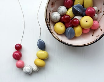 stone fruit - necklace, vintage beads - pink, grey, yellow - colorblock - chunky remixed jewelry - spring fashion