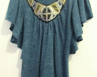 Marked Down 30%@@A GLAM Vintage 90's,ANG0RA Blend,Teal Green BAT WING Top By Tara.M