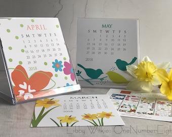 JEWEL CASE CALENDAR, 2018 calendar, floral calendar, 12 month calendar, holiday gift, stocking stuffer, desk calendar