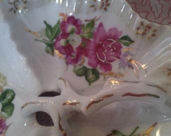Vintage Divided Floral Dish