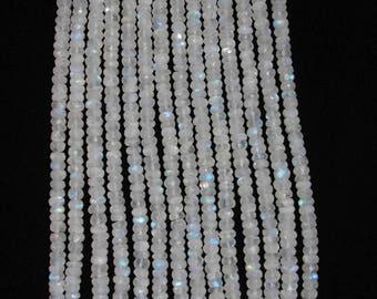 Moonstone, Moonstone Rondelle, Faceted Rondelle, Natural Moonstone, Gemstone Bead, Sparkle Bead, Full Strand, 7 mm, AdrianasBeads