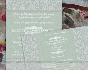 wedding invitations, wedding rsvp, bridal shower invitations, sage bridal shower invitations, wedding invitations and rsvp cards, IN365