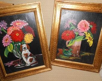 2 Original Paintings on board Italian Frames
