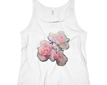 Euntique  Womens Beautiful Roses Relaxed Jersey Tank Top