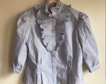 1980s Vintage Blue Pinstriped Ruffle Collar Fitted Blouse Women's Size Extra Small