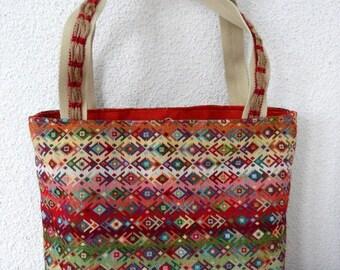 Red orange ethnic hand bag