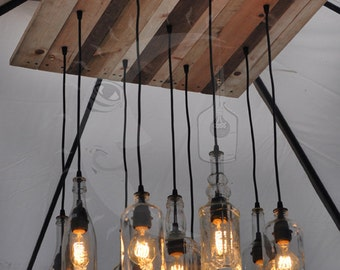 The napa recycled bottle chandelier nine light californian recycled bottle chandelier aloadofball Choice Image