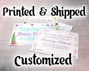 Full Size Princess Certificate (8.5 x 11) - PRINTED/SHIPPED & CUSTOMIZED! Custom, Great For Coronation Ceremony, Birthday Gift, Party Favors
