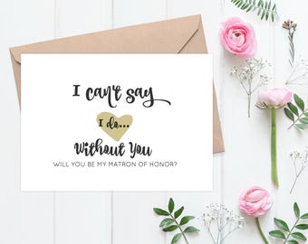 Will You Be My Matron Of Honor Card | Maid Of Honor | Flower Girl | Bridesmaid Proposal Card | Wedding Invitation | Printable  - 63B77