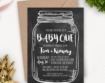 Chalkboard Baby Shower Invitation Printable / Mason Jar Baby Shower Printable Invitation / Neutral Baby Shower Invitation