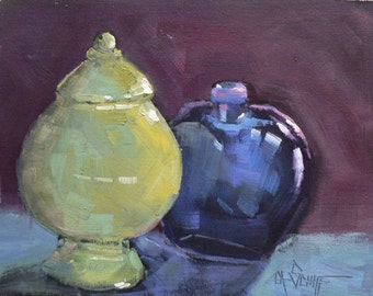 "Painting on Sale, Daily Painting, Still Life Painting, ""Blue and Green"" by Carol Schiff, 6x8"" oil,Reduced from 110.00"
