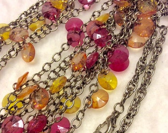 Vintage 1960's rivoli shaped beads on gold multi strand chain necklace
