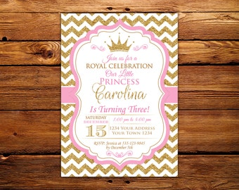 Princess Invitation. Baby Girl First Birthday Invitation. Girl 1st birthday. Royal Princess Birthday. Baby Pink - Gold Glitter.