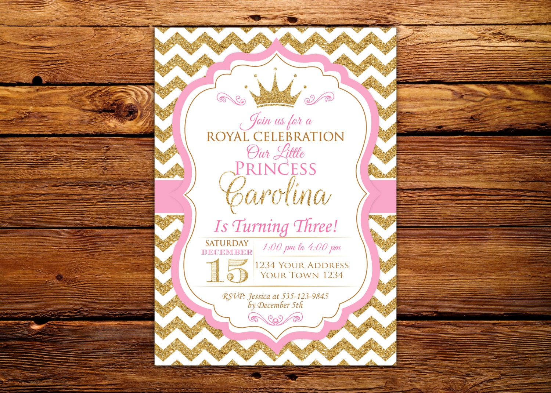 Princess Invitation. Baby Girl First Birthday Invitation. Girl