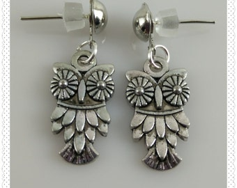 Silver Owl Post Earrings