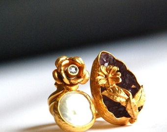 Drop Cut Raw Amethyst Ring with a Flower, a Pearl and a Diamond like Zircon Stone