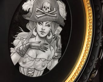 Lil pirate graphite portrait on arches framed