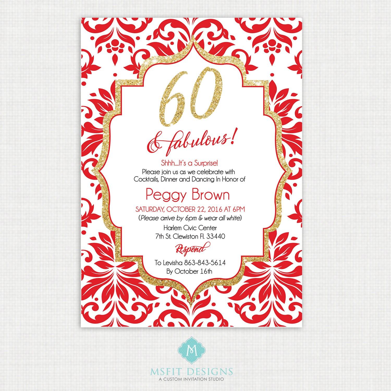 Printable Birthday Invitation- 60th birthday invitation- Party ...