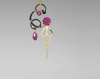 Pink Swarovski Crystal Pendant, Steampunk Pendant, Fuchsia Crystal, Swarovski Jewelry, Statement Jewelry, Clock Hands, Hemera v8