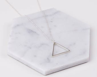 Large Single Silver Triangle Necklace - Minimalist Jewellery