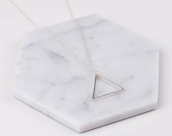 Large Single Silver Triangle Necklace - Minimalist Jewellery
