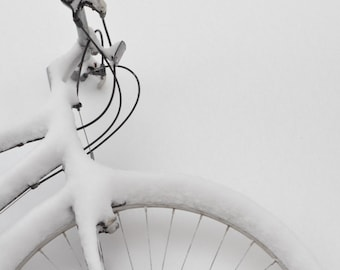 Bicycle photography snow in winter