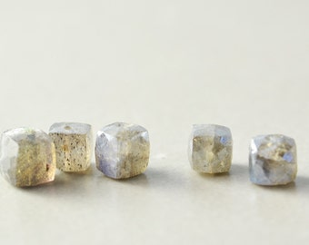 Labradorite Cube Beads, 4mm Cube Beads, Stone Cube Beads, Five