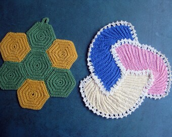 2 Special Never Used Hand Crochet Pot Holders Excellent Condition