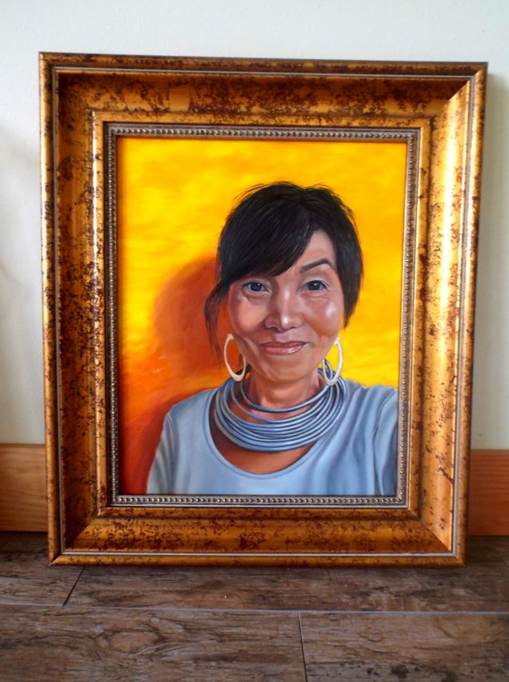 Happiness comes from within, oil on panel, image size 16 x 20 inches, framed