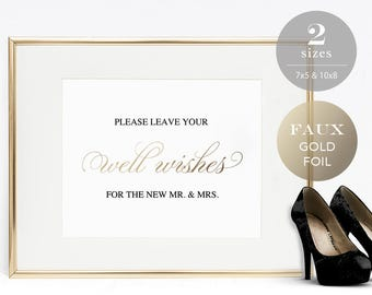 Wedding Well Wishes Sign Template, Printable Wedding Advice Sign, Gold Wedding, Well Wishes Sign, Editable PDF Instant Download #SPP018wsww