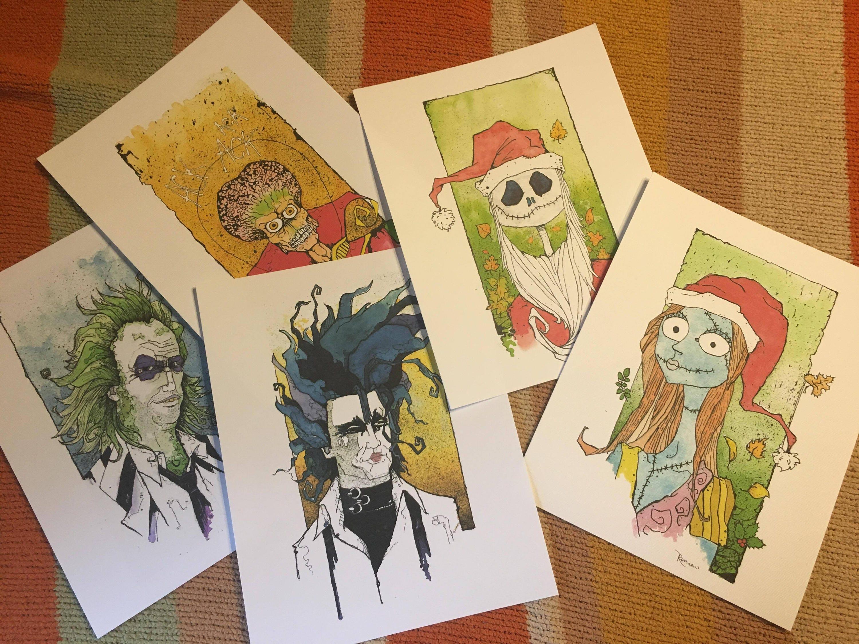 Tim Burton Watercolor Print set