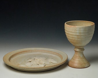 clay common cup  set, chalice and large plate