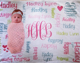Personalized baby etsy baby girl blanket personalize baby blanket monogram baby blanket name blanket swaddle receiving baby shower gift negle Choice Image
