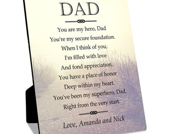 My Hero Personalized 8x10 Plaque with Easel for Dad