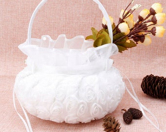 White Rose Satin Bowknot Flower Basket Wedding Flower Girl Basket Bridal Accessory Ceremony Party Decoration