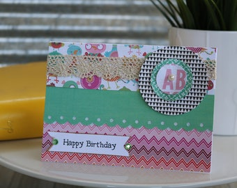 Happy Birthday-Happy Birthday Greeting Card, Handmade Card, Birthday Card