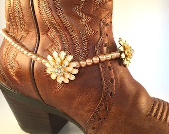 Fall Flower Bridal Boot Bling