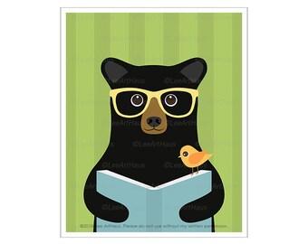 148A Bear Decor - Black Bear Reading Book Wall Art - Reading Decor - Library Wall Art - Glasses Art Poster - Black Bear Print - Book Prints