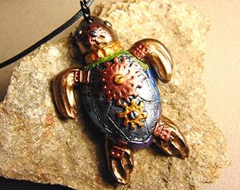 Polymer clay steampunk turtle