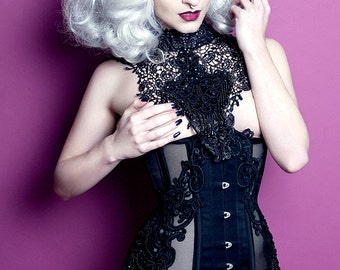 Steel boned mesh ribbon under bust corset with lace beading and appliqué detailing burlesque underwear steampunk
