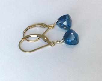 London Blue Earrings Blue Topaz Earrings London Blue Topaz earrings Quartz earrings 14 K Gold earrings December birthstone