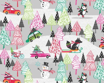Winter Playground Gray Fabric from Cool Yule Collection by Josephine Kimberling for Blend Fabrics. Christmas. 100% cotton. 114.114.01.2