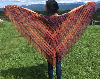 MADE TO ORDER crochet fringe shawl
