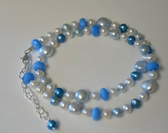 "Blue Quartz Necklace White Pearl Necklace Sterling Silver ""Sea Spray"" Ready to Ship"