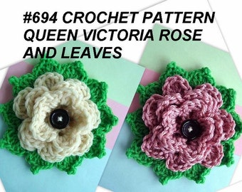 Crochet Rose Applique, CROCHET PATTERN - supplies for embellishment on hats, purses, scarves, headbands, # 694