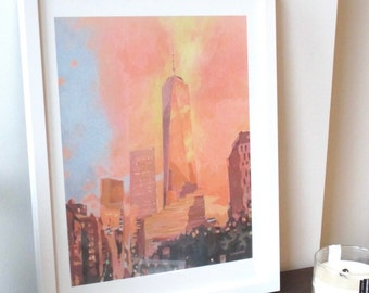 Framed Print: Freedom Tower Painting