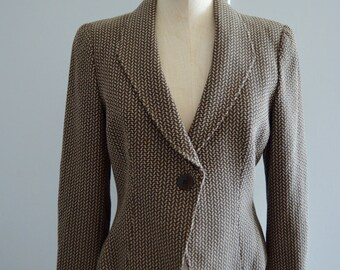 Armani  Houndstooth Blazer Collezioni made in italy cropped jacquard Houndstooth pied de poule jacket blazer