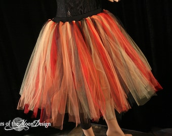 Streamer knee length tutu skirt adult Flame red black orange dance doller derby -- You Choose Size -- Sisters of the Moon