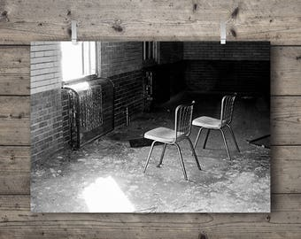 Chairs at Manteno State Hospital / Manteno, Illinois / Abandoned Asylum Black and White Photography Print / Mental Institution Architecture