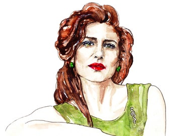 Red Lipstick Watercolor Painting, Woman Portrait, Girl Drawing, Original Art, Beauty Gift, Unique Wall Hanging, Fashion Illustration Actress